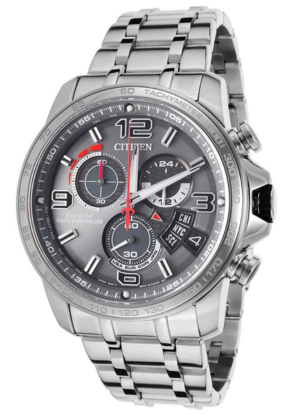 Men's Chrono-Time Eco-Drive Grey Dial Stainless Steel Watch Model No. BY0100-51H