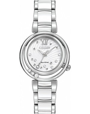 Citizen L Sunrise White Diamond-Accented Dial Ladies Watch model No. EM0320-83A