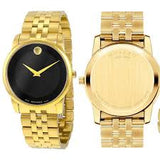 Men's Movado Museum Classic Black Dial Yellow PVD Watch model No. 0606997