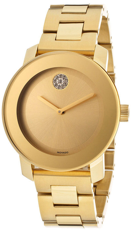 Ladies Movado Bold Yellow Gold Ion Plated Stainless Steel Watch. Model # 3600104