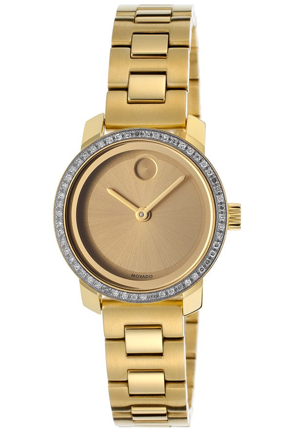 Ladies Movado Bold Champagne Dial Gold-tone Watch. Model # 3600215