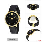Ladies Ultra Slim Black Sunray Dial Black Leather Watch. Model # 0607091