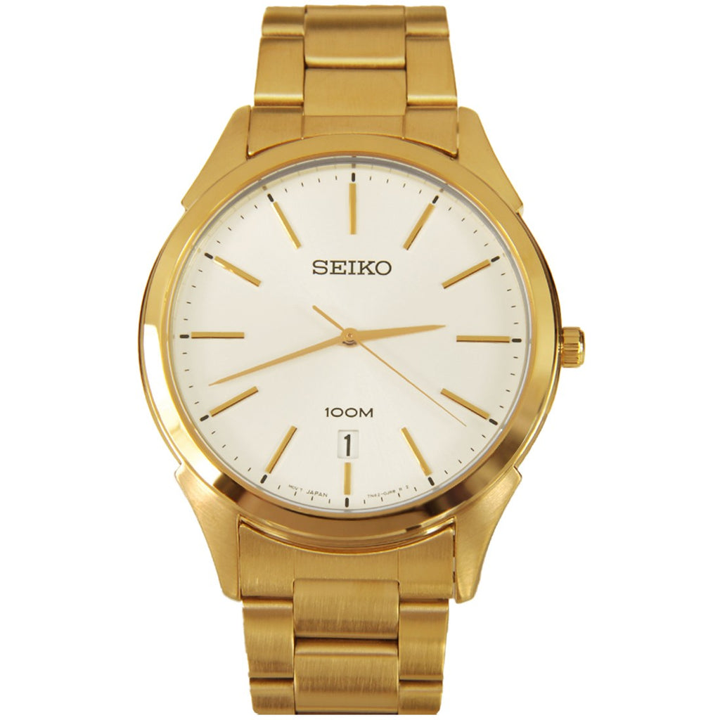 Seiko Men's 'Dress' Yellow Goldtone Stainless Steel Japanese Quartz Watch moderl # SGEG74