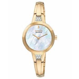 CITIZEN Women's EX1153-54D Silhouette Swarovski Crystals Gold Tone Mother of Pearl Dial Watch