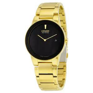 Citizen Axiom Black Dial Yellow Gold-tone Ladies Watch model . GA1052-55E