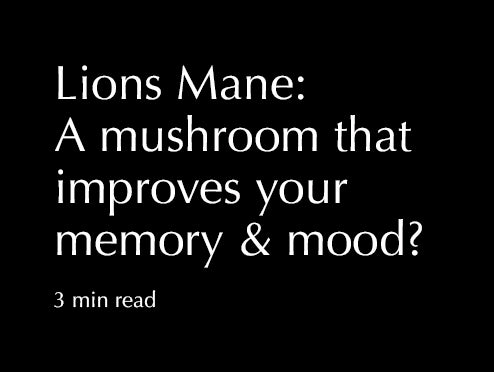 Lions Mane: A mushroom that improves your memory and mood?