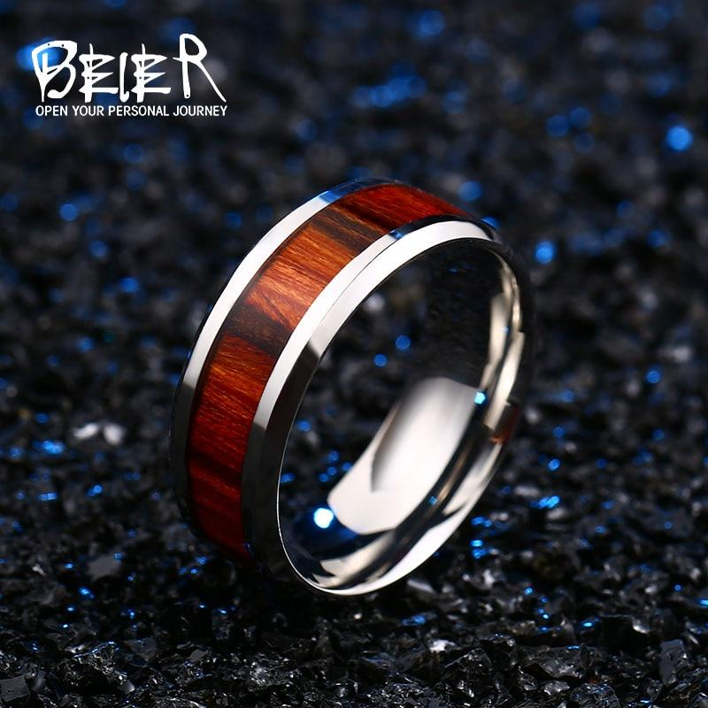 Stainless Red Wood Ring with Glossy Finish