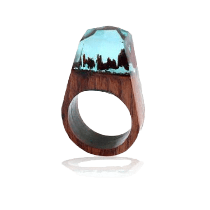 Pointed Resin Wood Ring With Crystal Finish