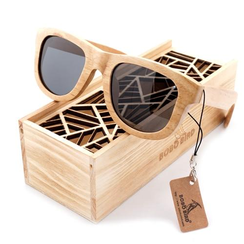 Brown Wood Square Sunglasses