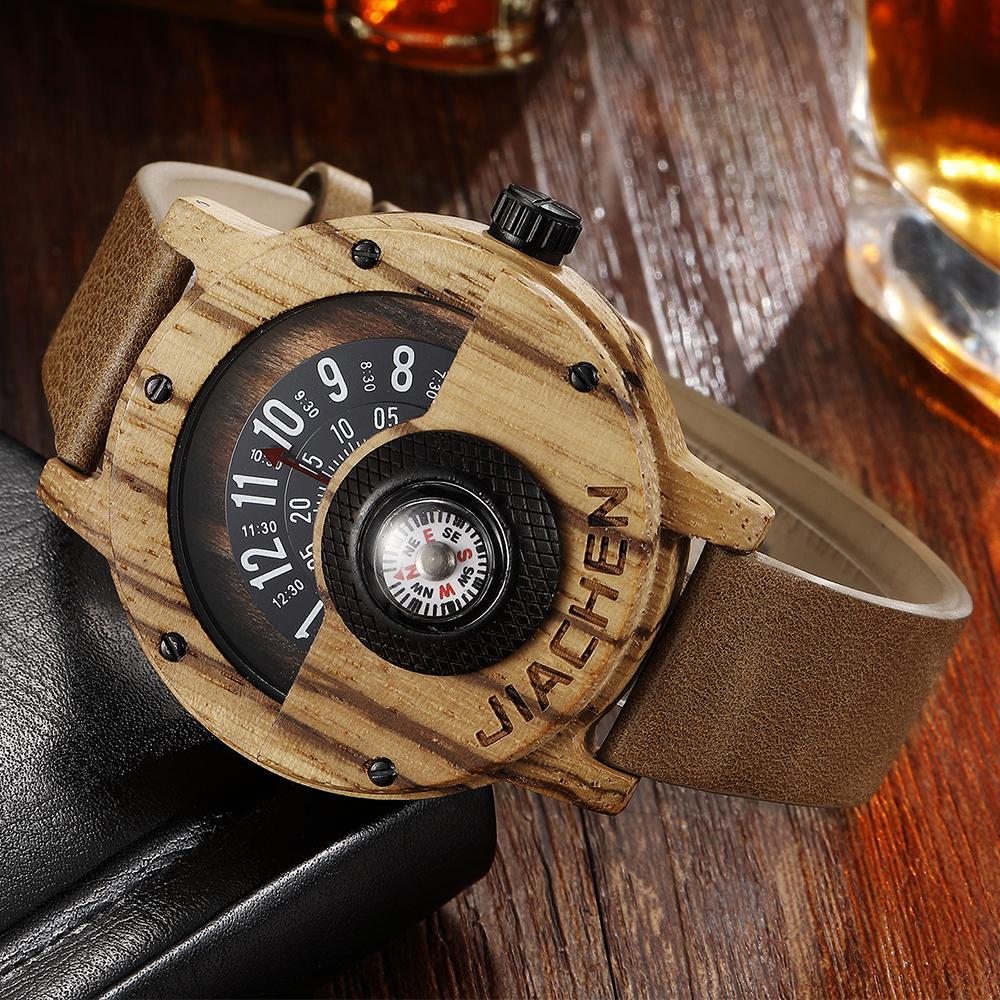 NATURAL WALNUT COMPASS WRISTWATCH