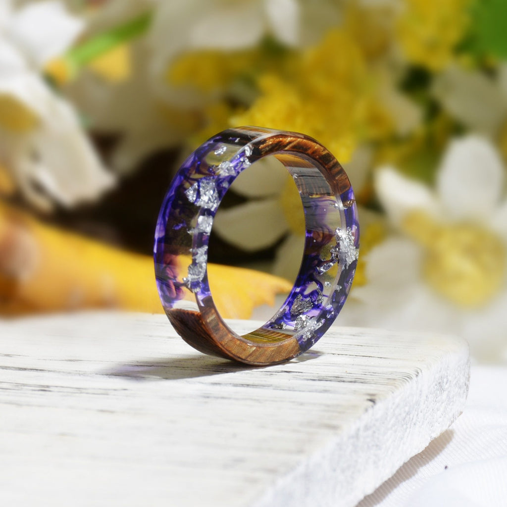 Colorful Handmade Resin Wood Vintage Ring