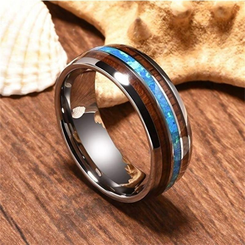 Hawaiian Wood and Titanium Ring
