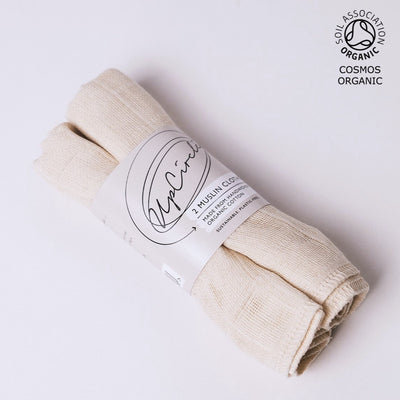 ORGANIC MUSLIN CLOTHS - 2 PIECES