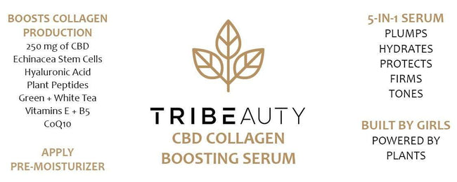 TriBeauty CBD Collagen Boosting Serum | 5-in-1: Firms, Tones, Plumps, Hydrates + Protects - Tribe CBD + Cannabinoids