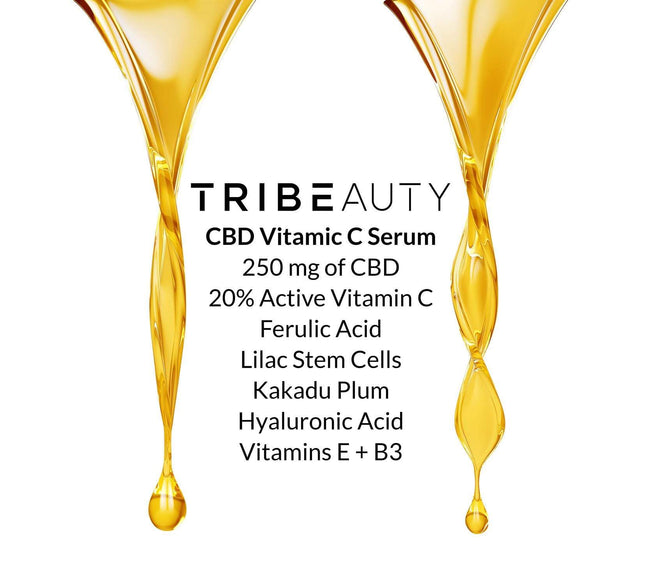 TriBeauty CBD Vitamin C & Ferulic Acid Super Serum | 5-in-1: Brightening + Regenerating - Tribe CBD + Cannabinoids