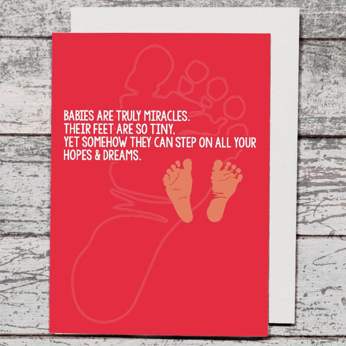 Card - Babies Are Truly Miracles / Pink - The Red Dog Gift Shop