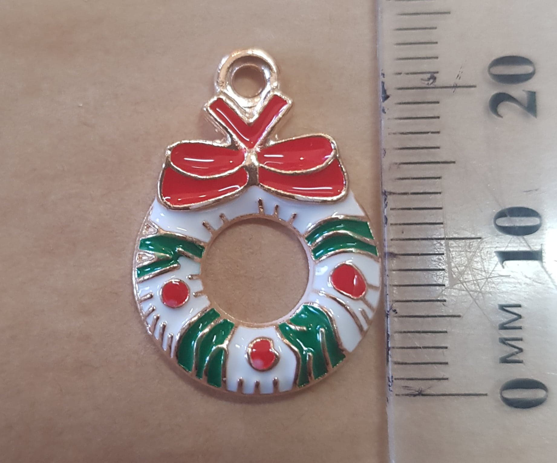 Christmas Wreath Charm - 12mm x 23mm