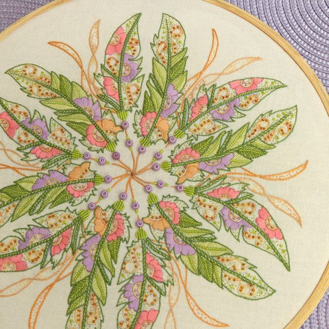 In Fine Feather - Freestyle Embroidered Mandala - Full Kit