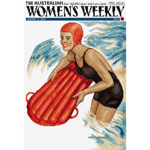 Woman in Surf - Cross Stitch Chart