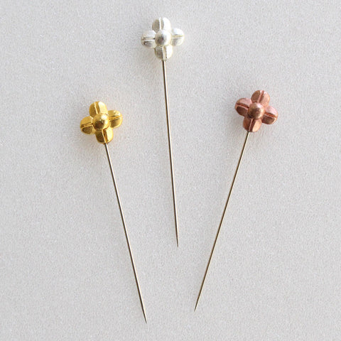 Marking Pins with Flowers colored Gold, Silver and Bronze