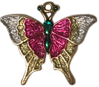 Christmas Butterfly Ornament with Painted Butterfly Charm