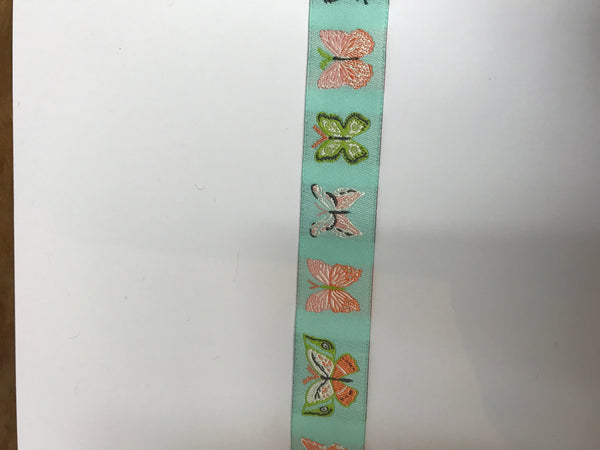 Aqua Butterflies Ribbon by Bonnie Christine