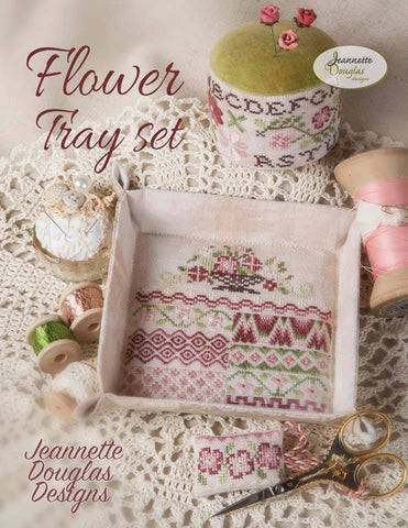 Flower Tray Set - Cross Stitch Pattern with Embellishments