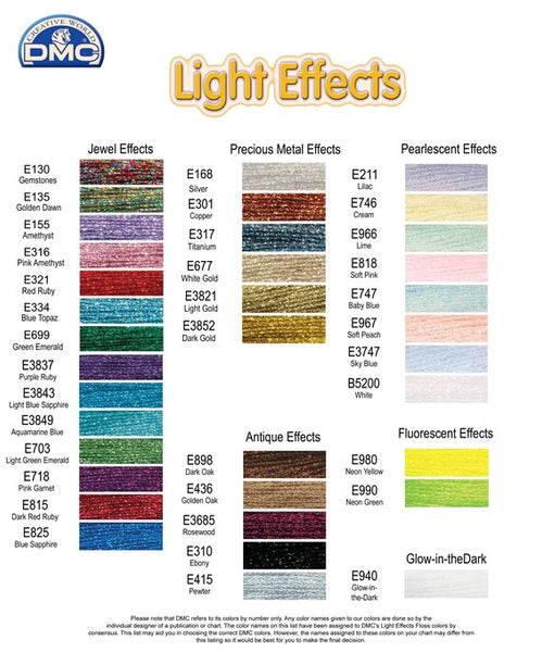 DMC Light Effects Stranded Metallic Threads