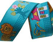 African Lions on Turquoise Ribbon - Folk Tails by Sue Spargo