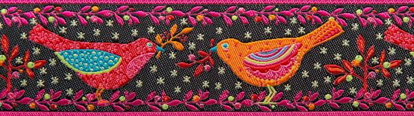 Red and Orange Birds on Black