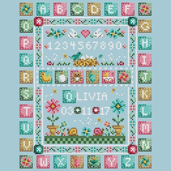 Quilted Baby Sampler - Cross Stitch Pattern