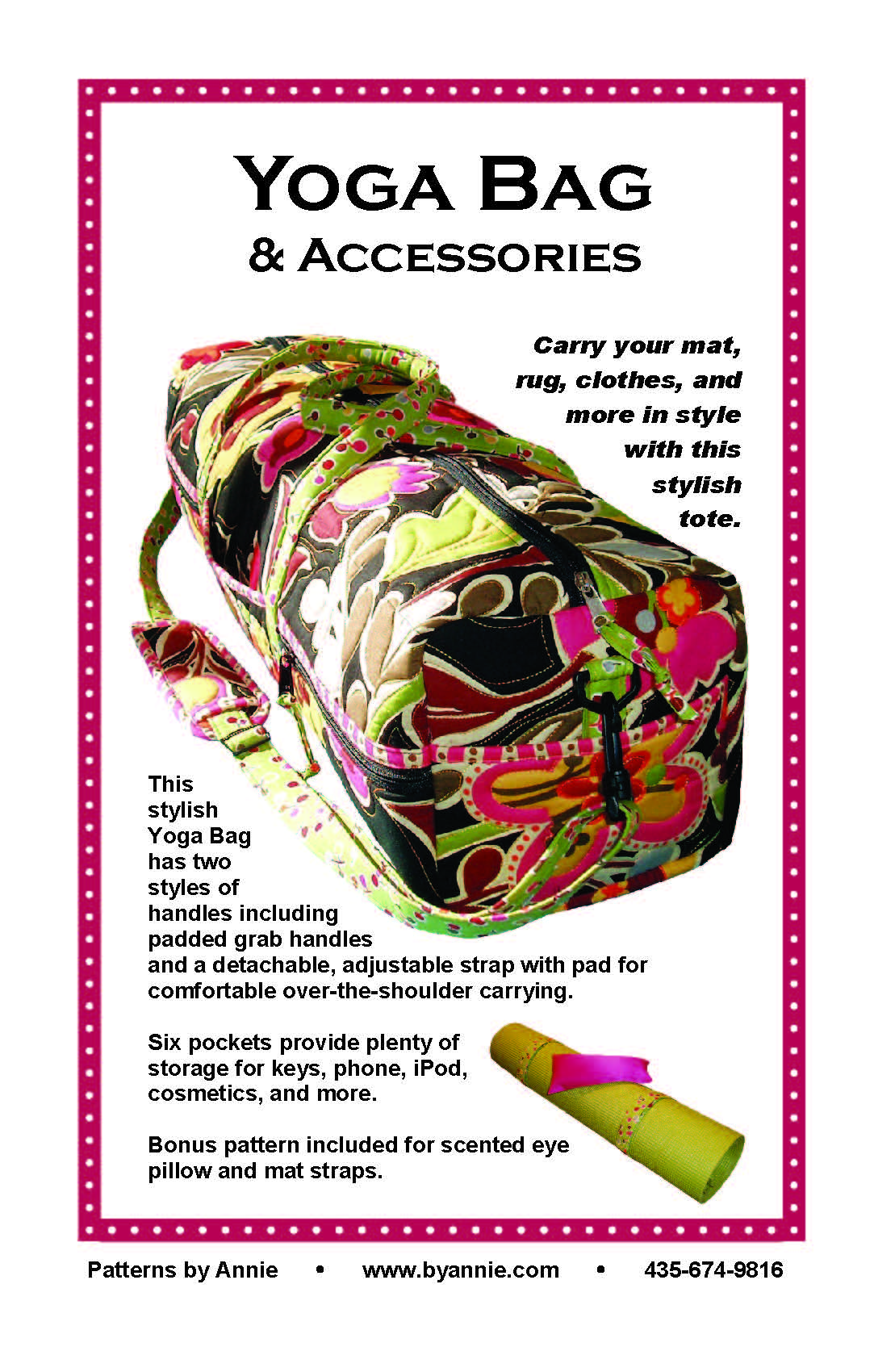 Yoga Bag & Accessories  - Pattern~ By Annie