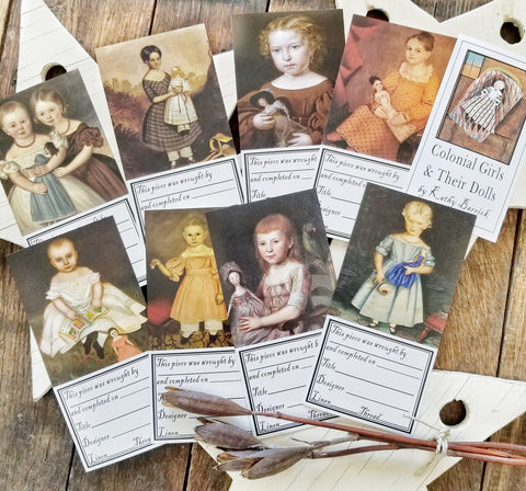 Colonial Girls & Their Dolls - Needlework Finishing Labels