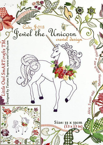 Jewel the Unicorn Crewel Embroidery Pattern