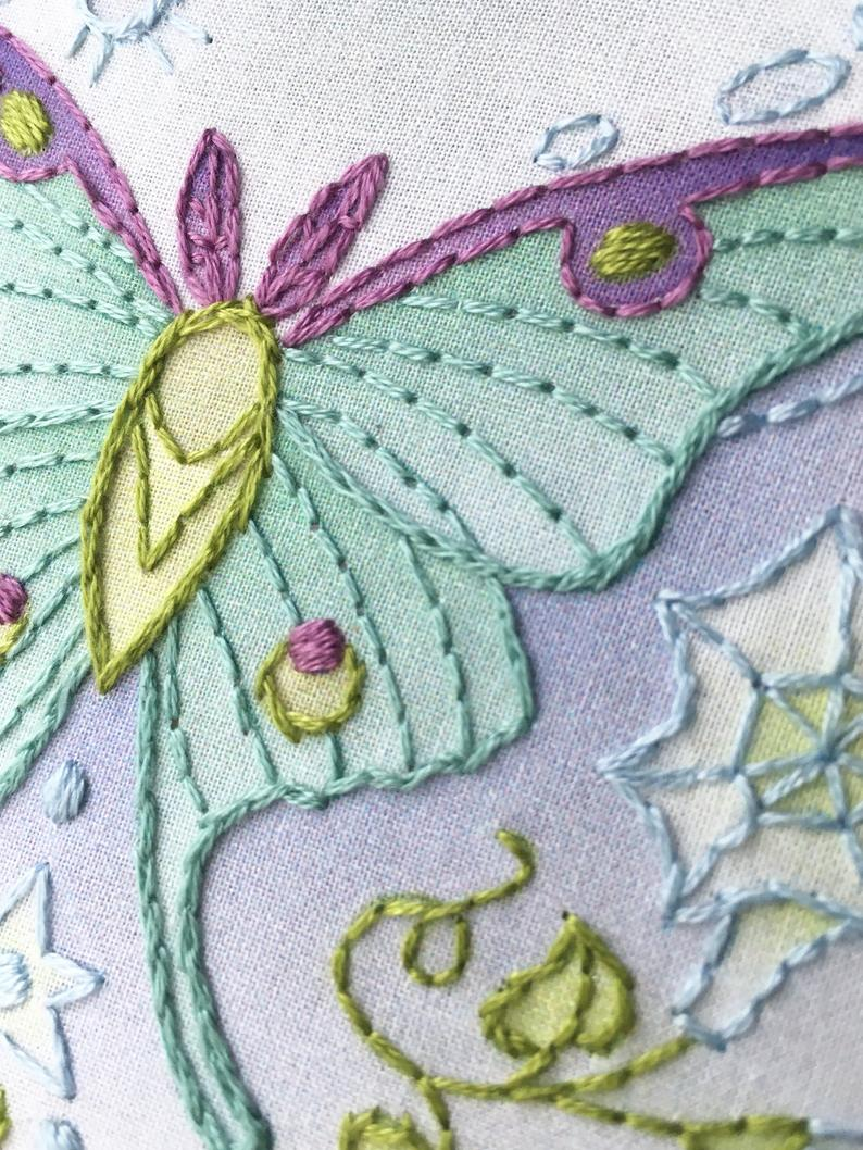 Luna Moth Embroidery Kit