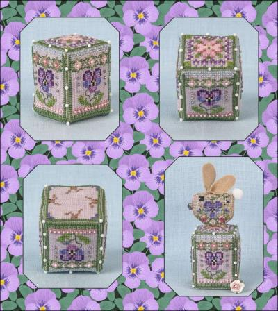 Pansy Rose Cube ~ Cross Stitch pattern with Embellishments