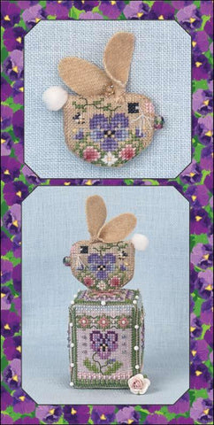 Pansy Bunny Ornament - Cross Stitch Pattern with Embellishments