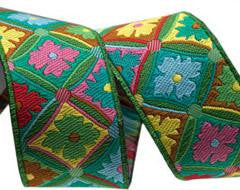 Antwerp Flowers Ribbon -Green by Kaffe Fassett