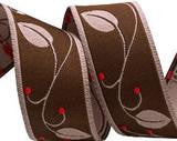 Brown & Berry Leaf Pattern Ribbon by Nancy Ziemann