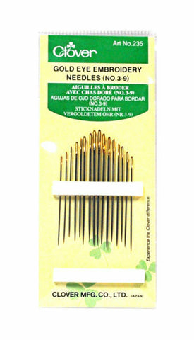 Clover Gold Eye Embroidery Needles 3-9
