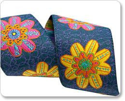 Bright Flower on denim Ribbon by Sue Spargo