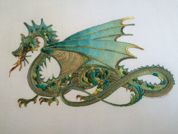 Jade Dragon Embroidery Design