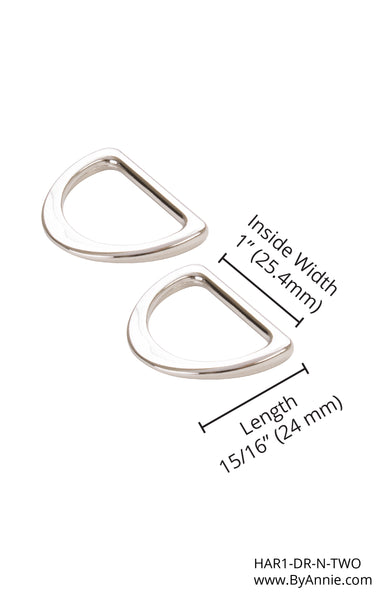 1 inch - Nickel D-Ring, Flat, Set of Two