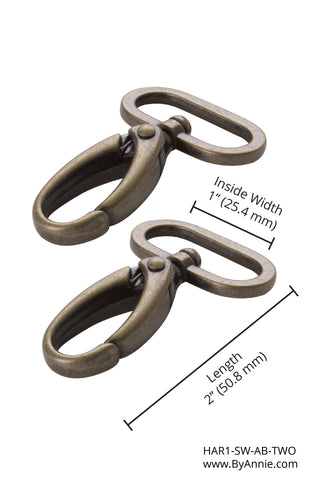 1 inch - Antique Brass Swivel Hook, Set of Two