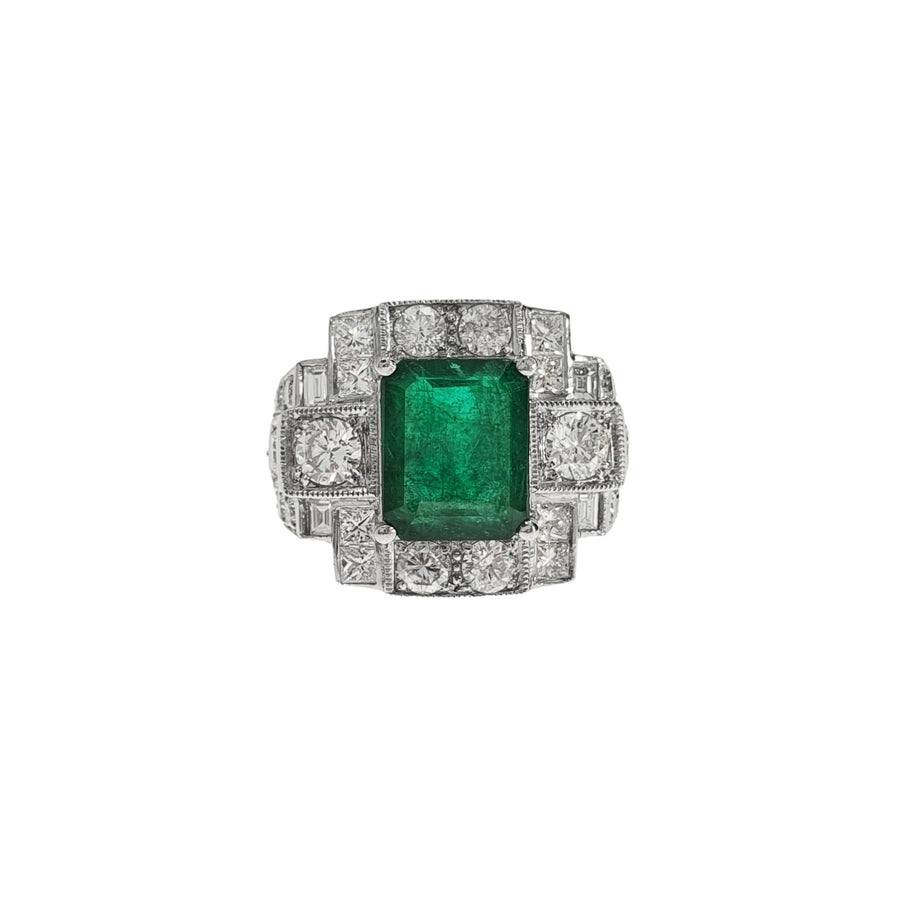 Retro Emerald & Diamond Ring
