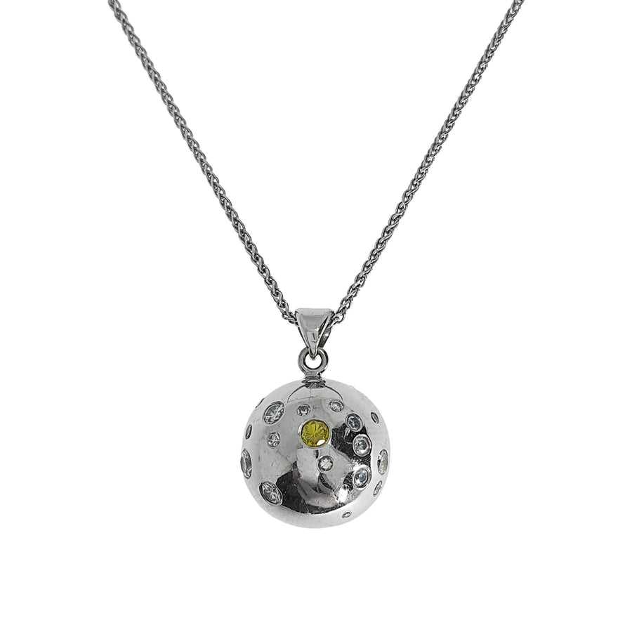 Rubover Set Diamond Orb Pendant