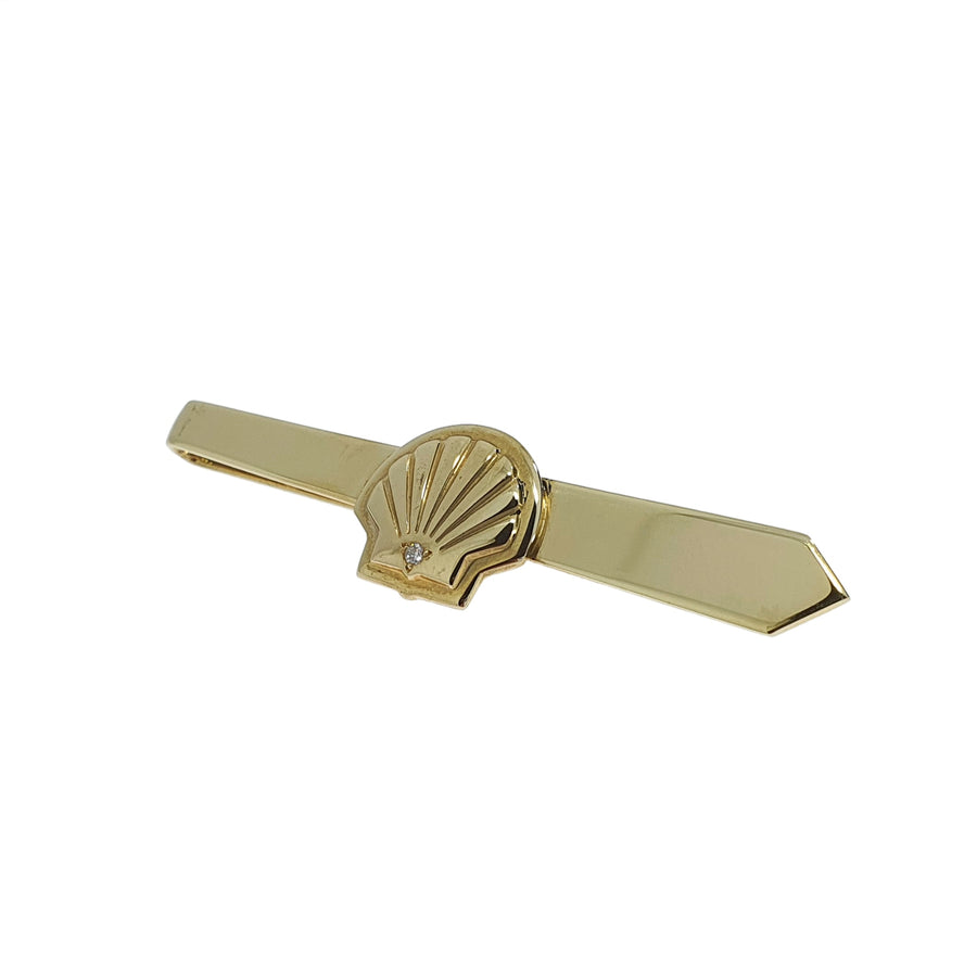 Diamond Set 9ct Gold Shell Tie Slide