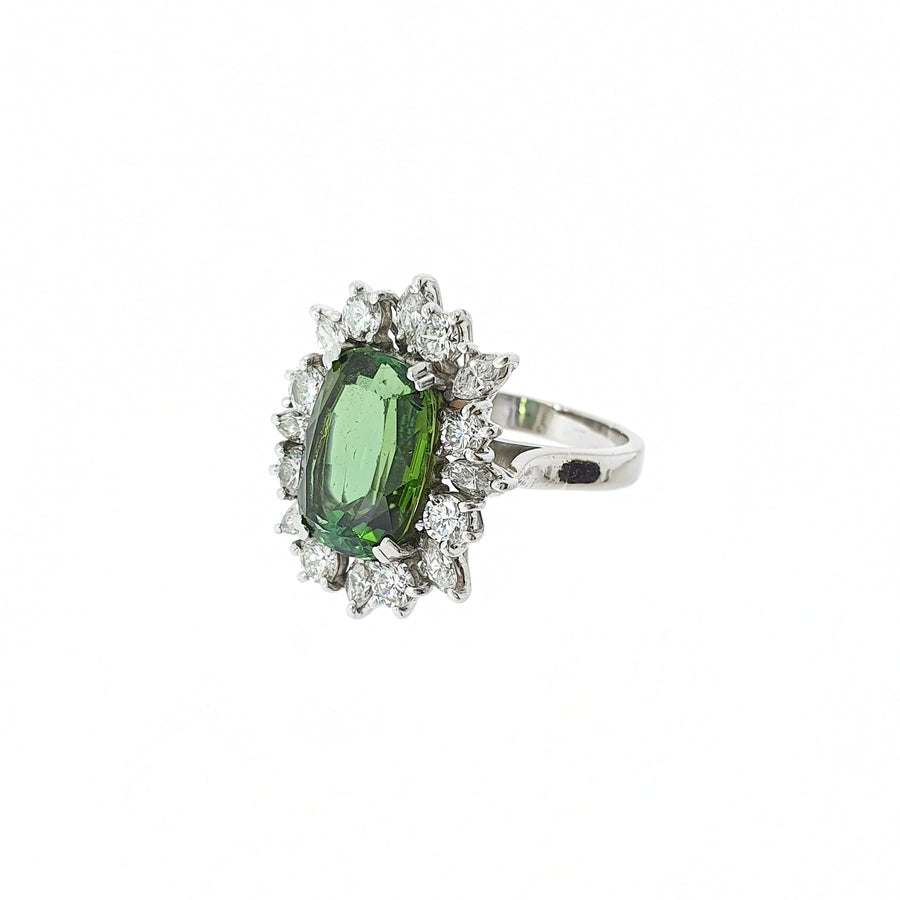 Vintage Green Tourmaline & Diamond Ring