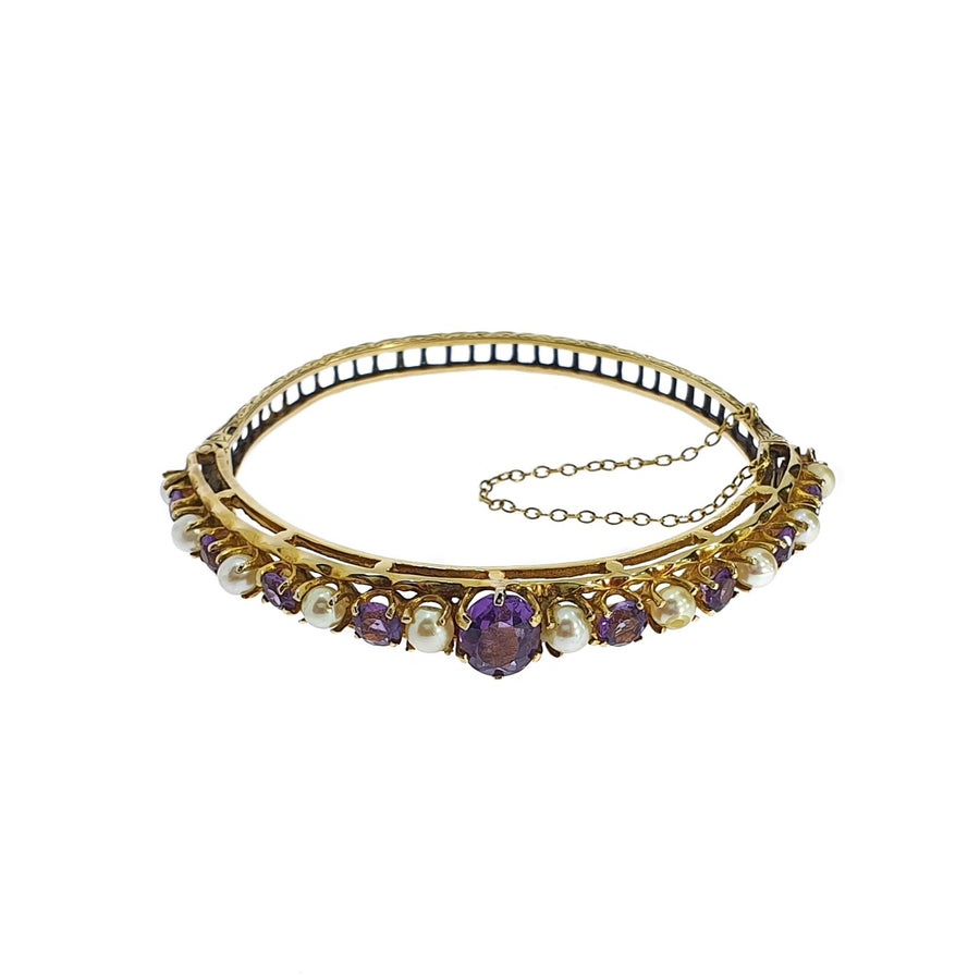 Vintage Amethyst & Pearl Bangle