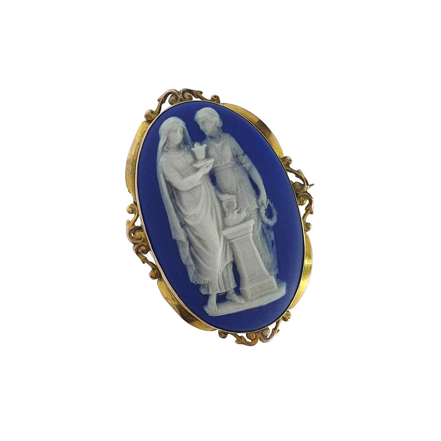 Yellow Gold Wedgewood Cameo Brooch